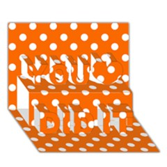 Orange And White Polka Dots You Did It 3D Greeting Card (7x5)