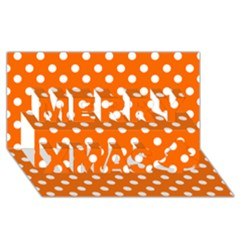 Orange And White Polka Dots Merry Xmas 3d Greeting Card (8x4)