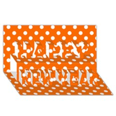 Orange And White Polka Dots Happy New Year 3D Greeting Card (8x4)