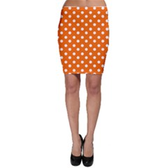 Orange And White Polka Dots Bodycon Skirts