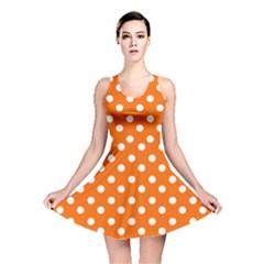 Orange And White Polka Dots Reversible Skater Dresses