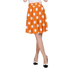 Orange And White Polka Dots A-Line Skirts