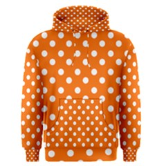 Orange And White Polka Dots Men s Pullover Hoodies