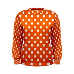Orange And White Polka Dots Women s Sweatshirts