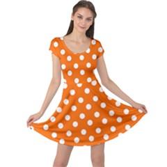 Orange And White Polka Dots Cap Sleeve Dresses