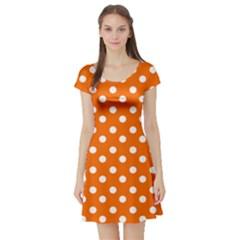Orange And White Polka Dots Short Sleeve Skater Dresses