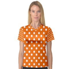 Orange And White Polka Dots Women s V-Neck Sport Mesh Tee