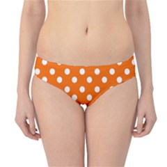 Orange And White Polka Dots Hipster Bikini Bottoms