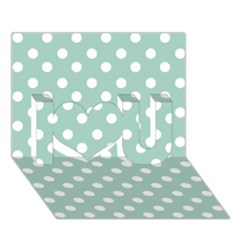 Light Blue And White Polka Dots I Love You 3d Greeting Card (7x5)