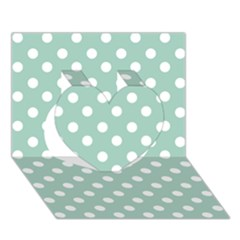 Light Blue And White Polka Dots Heart 3d Greeting Card (7x5)