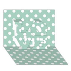 Light Blue And White Polka Dots Love 3d Greeting Card (7x5)