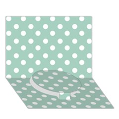 Light Blue And White Polka Dots Circle Bottom 3D Greeting Card (7x5)