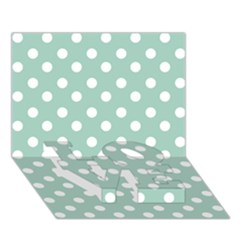 Light Blue And White Polka Dots Love Bottom 3d Greeting Card (7x5)