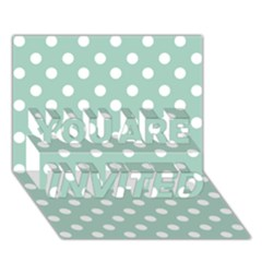 Light Blue And White Polka Dots YOU ARE INVITED 3D Greeting Card (7x5)
