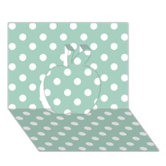 Light Blue And White Polka Dots Apple 3d Greeting Card (7x5)