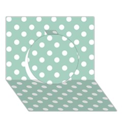Light Blue And White Polka Dots Circle 3d Greeting Card (7x5)