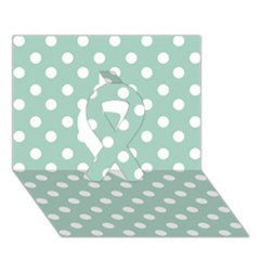Light Blue And White Polka Dots Ribbon 3D Greeting Card (7x5)