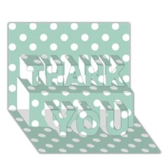 Light Blue And White Polka Dots THANK YOU 3D Greeting Card (7x5)