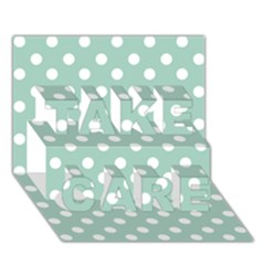 Light Blue And White Polka Dots TAKE CARE 3D Greeting Card (7x5)