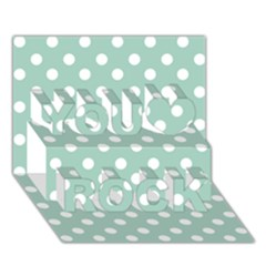 Light Blue And White Polka Dots You Rock 3D Greeting Card (7x5)