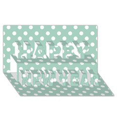 Light Blue And White Polka Dots Happy New Year 3D Greeting Card (8x4)