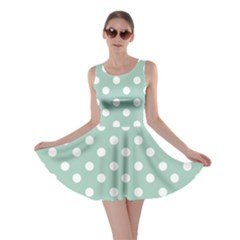 Light Blue And White Polka Dots Skater Dresses