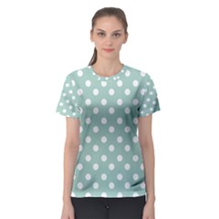 Light Blue And White Polka Dots Women s Sport Mesh Tees