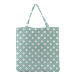Light Blue And White Polka Dots Grocery Tote Bags
