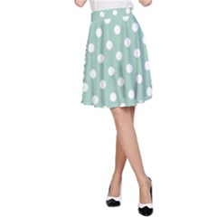 Light Blue And White Polka Dots A Line Skirts