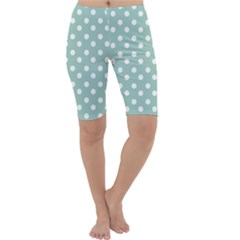 Light Blue And White Polka Dots Cropped Leggings