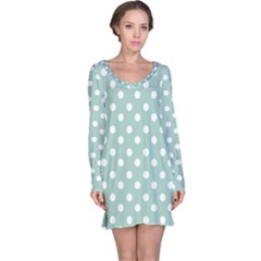 Light Blue And White Polka Dots Long Sleeve Nightdresses