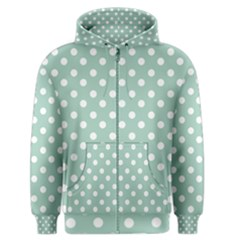 Light Blue And White Polka Dots Men s Zipper Hoodies