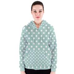 Light Blue And White Polka Dots Women s Zipper Hoodies
