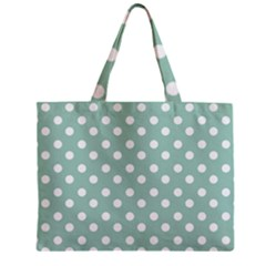 Light Blue And White Polka Dots Zipper Tiny Tote Bags