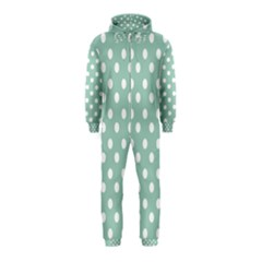 Light Blue And White Polka Dots Hooded Jumpsuit (Kids)