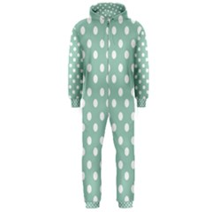 Light Blue And White Polka Dots Hooded Jumpsuit (Men)