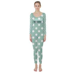 Light Blue And White Polka Dots Long Sleeve Catsuit