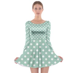 Light Blue And White Polka Dots Long Sleeve Skater Dress