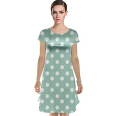 Light Blue And White Polka Dots Cap Sleeve Nightdresses