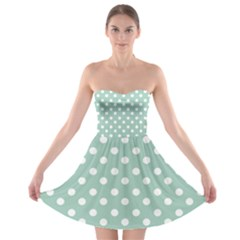 Light Blue And White Polka Dots Strapless Bra Top Dress