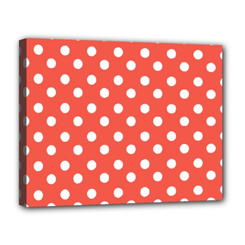Indian Red Polka Dots Canvas 14  X 11
