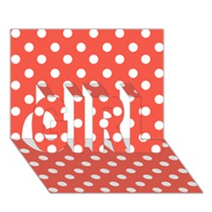 Indian Red Polka Dots Girl 3d Greeting Card (7x5)