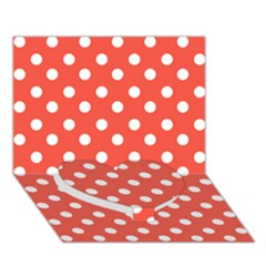 Indian Red Polka Dots Heart Bottom 3d Greeting Card (7x5)