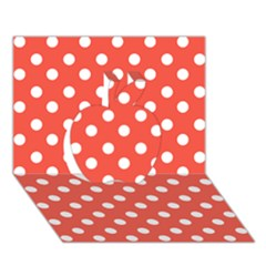 Indian Red Polka Dots Apple 3D Greeting Card (7x5)