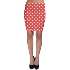 Indian Red Polka Dots Bodycon Skirts