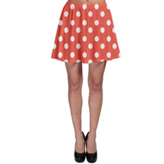 Indian Red Polka Dots Skater Skirts