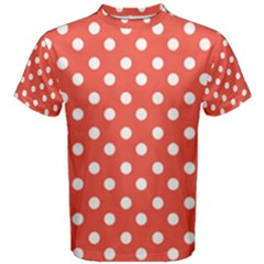 Indian Red Polka Dots Men s Cotton Tees