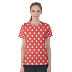 Indian Red Polka Dots Women s Cotton Tees