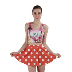Indian Red Polka Dots Mini Skirts
