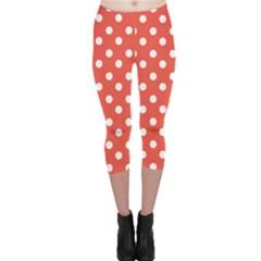 Indian Red Polka Dots Capri Leggings